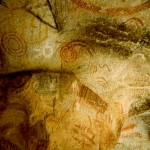 A close up of the cave paintings.