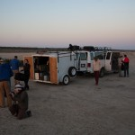 Everyone unpacks the trailer at Laguna Ojo de Liebre for Finding the Good's first extended camp where they will meet the whales.