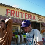 Forest and Andrew hang out in front of the Fruteria in Guerrero Negro.