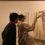 Alex and Genesis admire the work of a Japanese/American artist in the art museum in Ensenada.